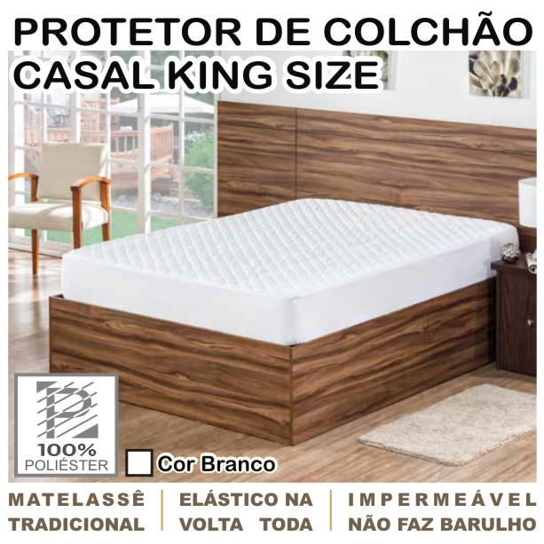 Capa de Colchão Protetor Impermeável Microfibra Casal King Size Branco  - Baby Sonic Aviamentos