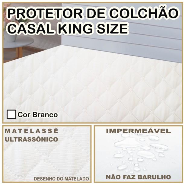 Capa de Colchão Protetor Impermeável Microfibra Casal King Size Branco