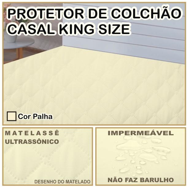 Capa de Colchão Protetor Impermeável Microfibra Casal King Size Palha  - Baby Sonic Aviamentos