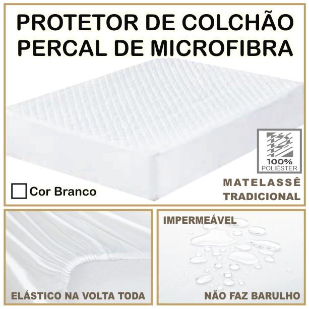 Capa de Colchão Protetor Impermeável Microfibra Casal Padrão Branco  - Baby Sonic Aviamentos
