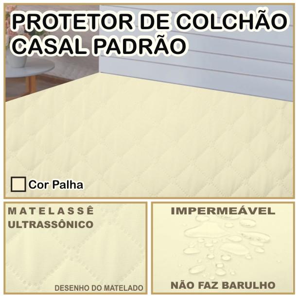Capa de Colchão Protetor Impermeável Microfibra Casal Padrão Palha