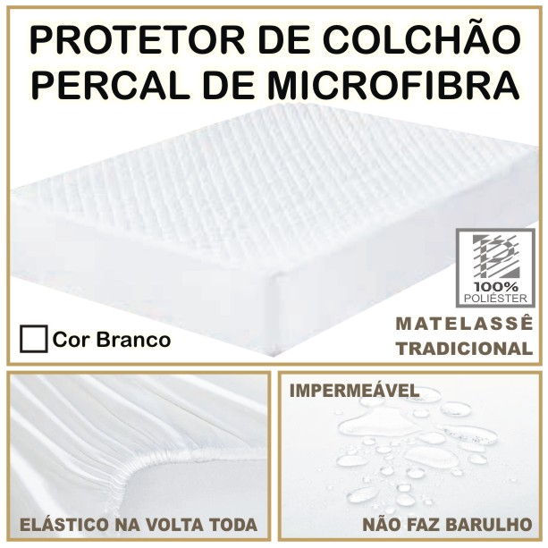 Capa de Colchão Protetor Impermeável Microfibra Casal Queen Size Branco  - Baby Sonic Aviamentos