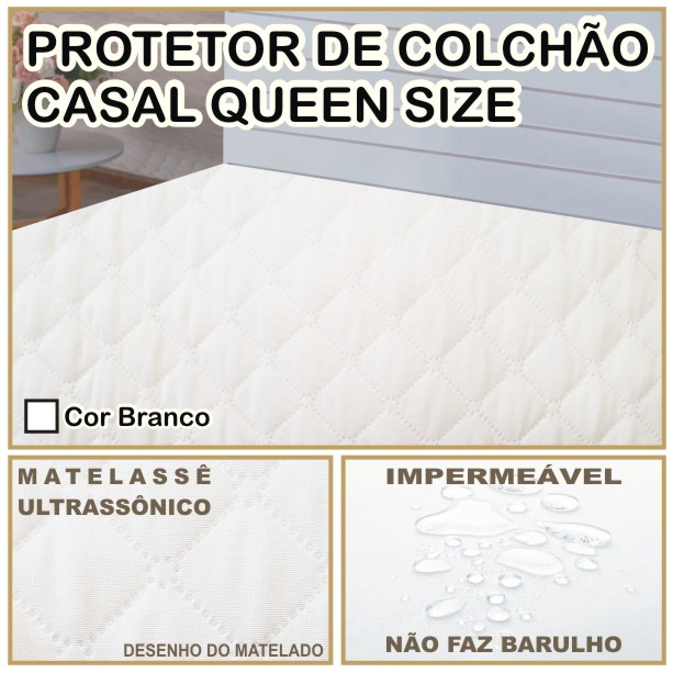 Capa de Colchão Protetor Impermeável Microfibra Casal Queen Size Branco