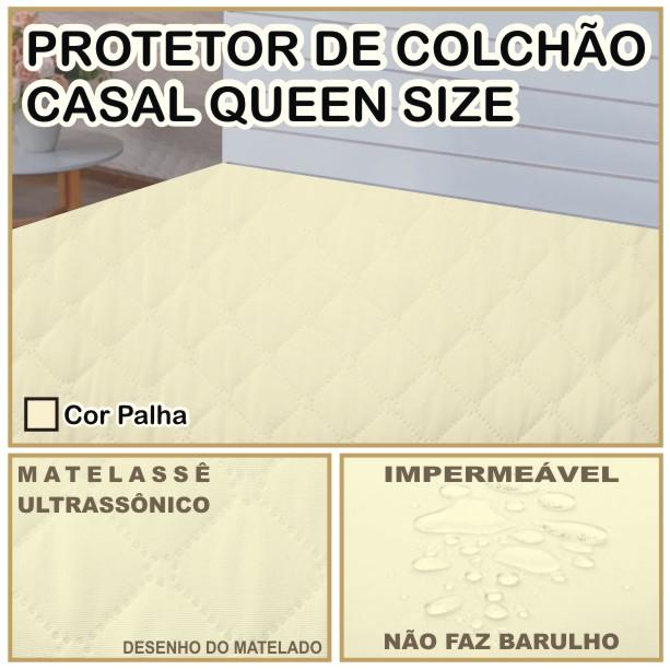 Capa de Colchão Protetor Impermeável Microfibra Casal Queen Size Palha  - Baby Sonic Aviamentos