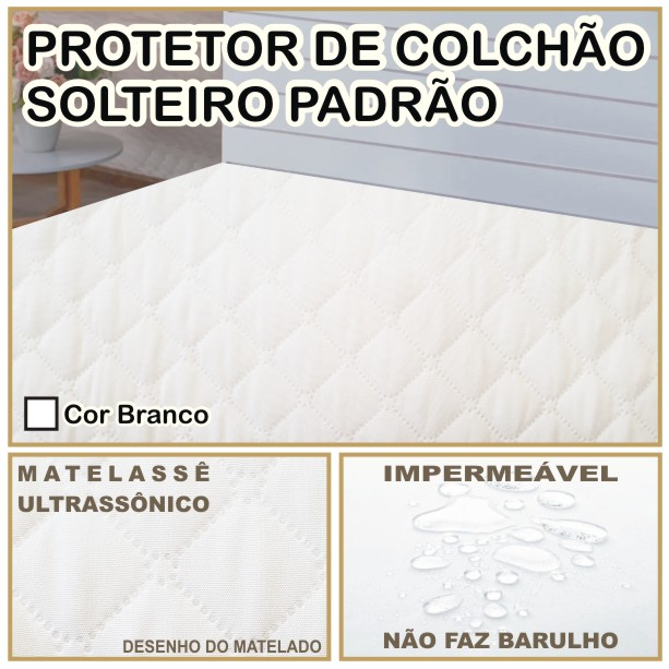 Capa de Colchão Protetor Impermeável Microfibra Solteiro Branco  - Baby Sonic Aviamentos