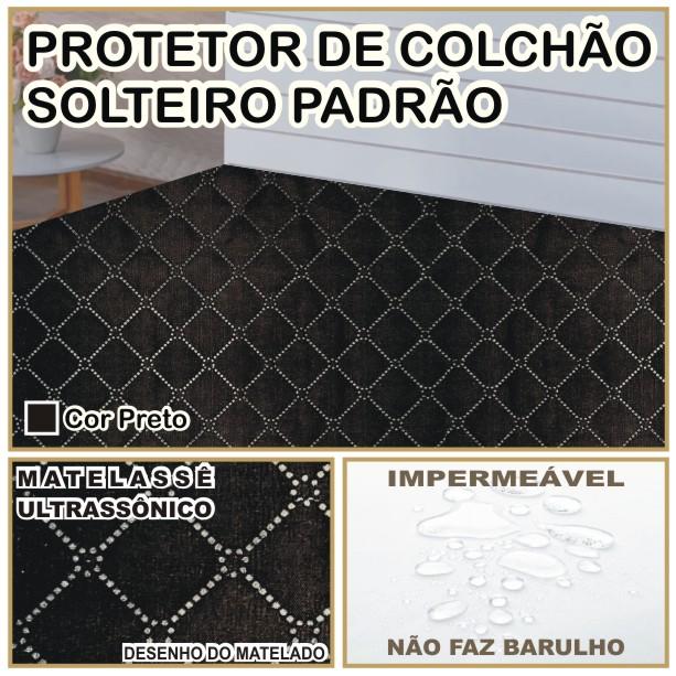Capa de Colchão Protetor Impermeável Microfibra Solteiro Preto