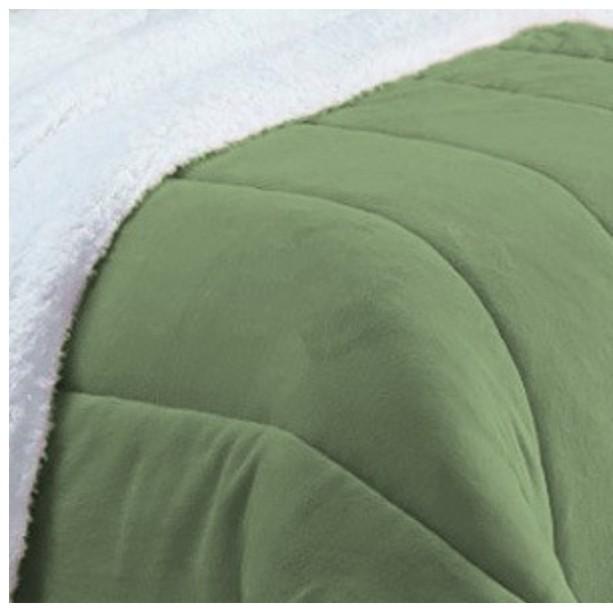 Coberdrom Casal Padrão e Queen Size Pele de Carneiro Sherpa e Manta Soft Verde Claro  - Baby Sonic Aviamentos