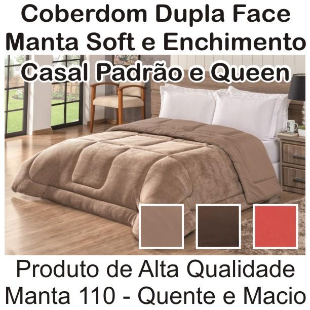 Coberdrom Cold Dupla Face Casal Padrão e Queen Size Manta Soft Cores