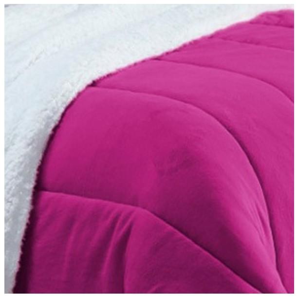 Coberdrom Casal Padrão e Queen Size Pele de Carneiro Sherpa e Manta Soft Pink  - Baby Sonic Aviamentos