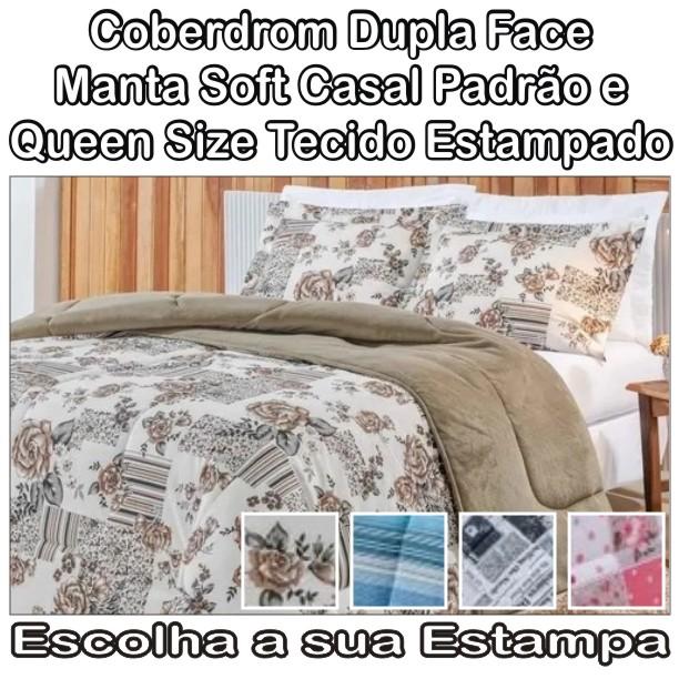 Coberdrom Solteiro Dupla Face Manta Soft Estampado - 2,40m x 1,80m