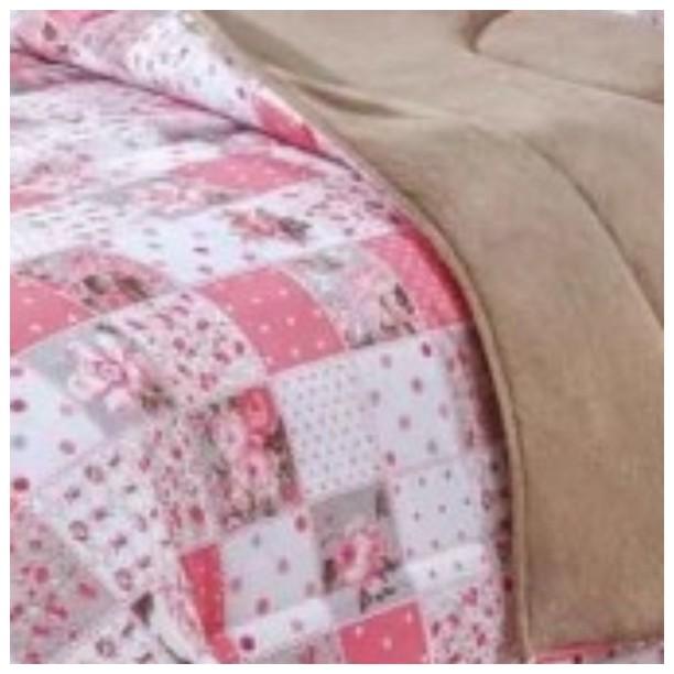 Coberdrom Solteiro Padrão Dupla Face Manta Soft e Tecido Estampado Rosê  - Baby Sonic Aviamentos