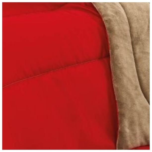 Coberdrom Solteiro Padrão Dupla Face Manta Soft e Tecido Liso Vermelho  - Baby Sonic Aviamentos