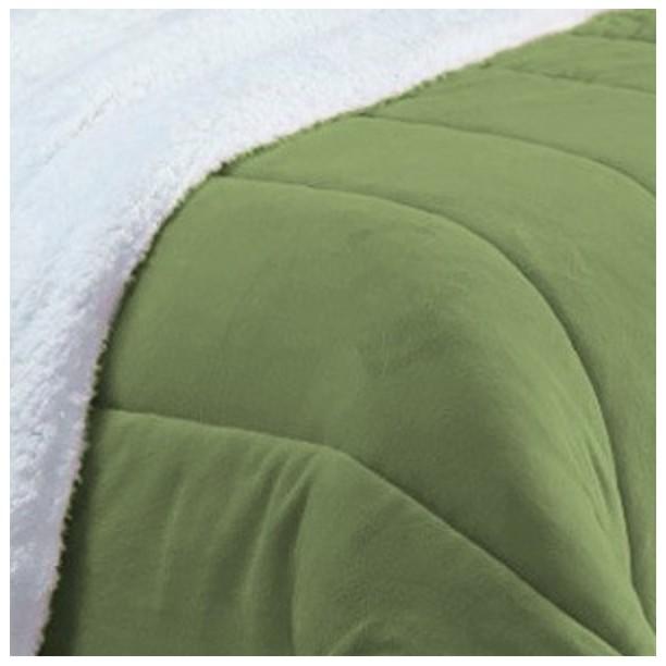 Coberdrom Solteiro Pele de Carneiro Sherpa e Manta Soft Verde Escuro  - Baby Sonic Aviamentos
