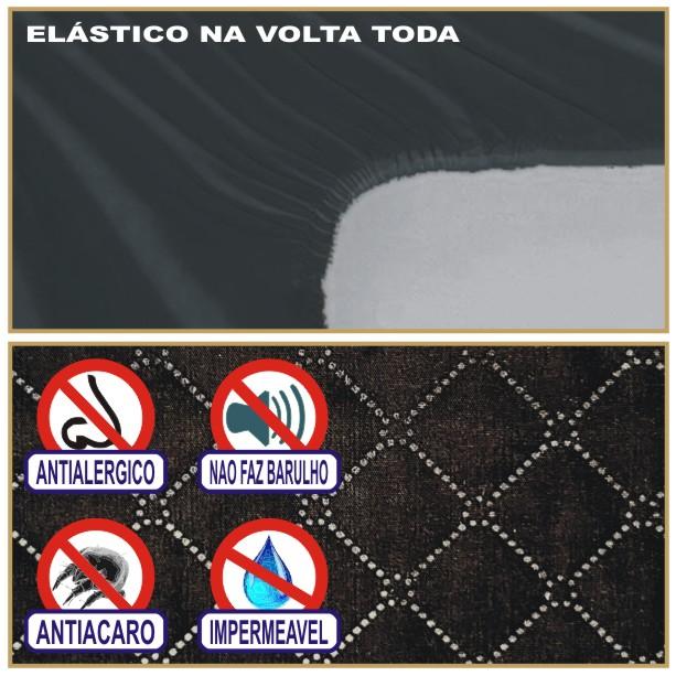 Capa de Colchão Protetor Impermeável Microfibra Casal Padrão Preto  - Baby Sonic Aviamentos