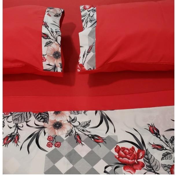 Kit 3pç Lençol Casal Padrão 100% Algodão Floral Vermelho  - Baby Sonic Aviamentos