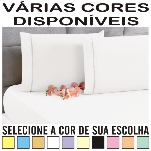 Lençol Casal Padrão Com Elástico + 2 Fronhas Ponto Palito Percal 100% Algodão - DIVERSAS CORES  - Baby Sonic Aviamentos