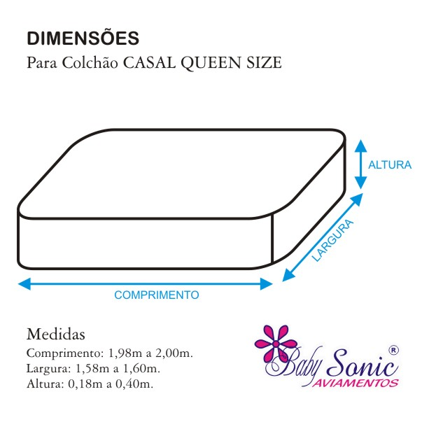 Lençol Casal Queen Size com Elástico + Fronha Em Microfibra 200 Fios Branco  - Baby Sonic Aviamentos