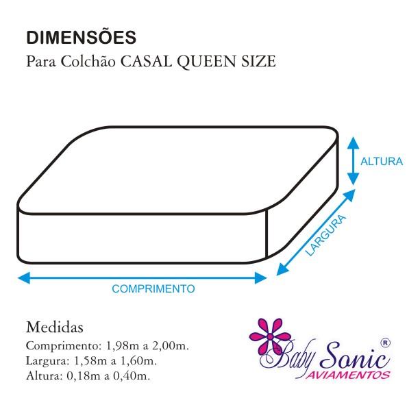 Lençol Casal Queen Size com Elástico + Fronha Em Microfibra 200 Fios Diversas Cores  - Baby Sonic Aviamentos