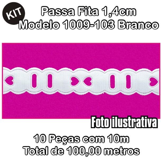 Passa Fita 1,4cm X 10m KIT 10unid Branco 1009-103  - Baby Sonic Aviamentos