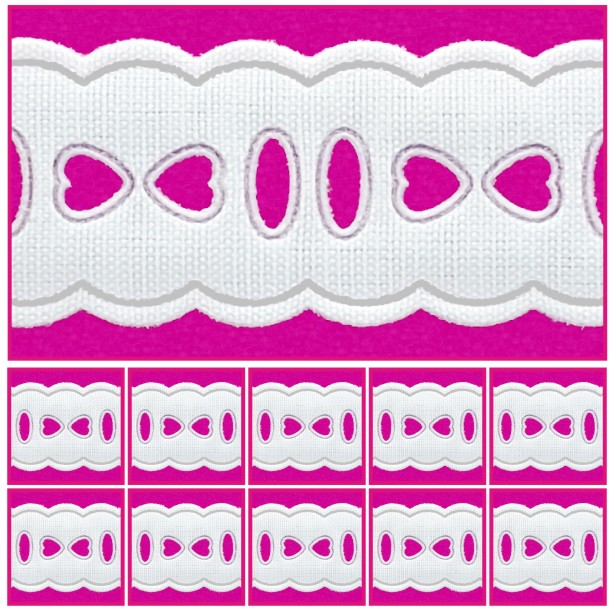 Passa Fita 2,3cm X 10m KIT 10unid Branco 1011-103  - Baby Sonic Aviamentos