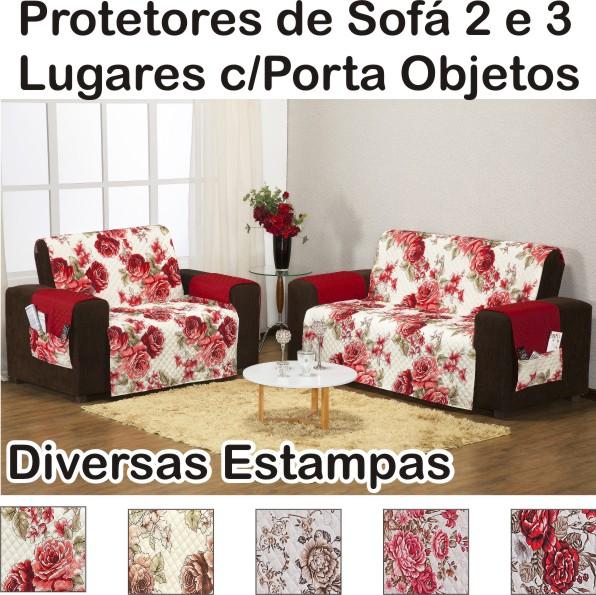 Protetor de Sofá 3 e 2 Lugares com Porta Objetos - Estampas