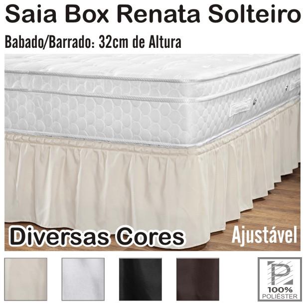 Saia Box Renata Ajustável Cama de Solteiro Diversas Cores