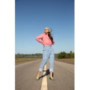 Calça jeans barra virada LAVAGEM CLARA