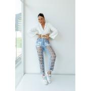 Calça jeans recortes -  Laser Art