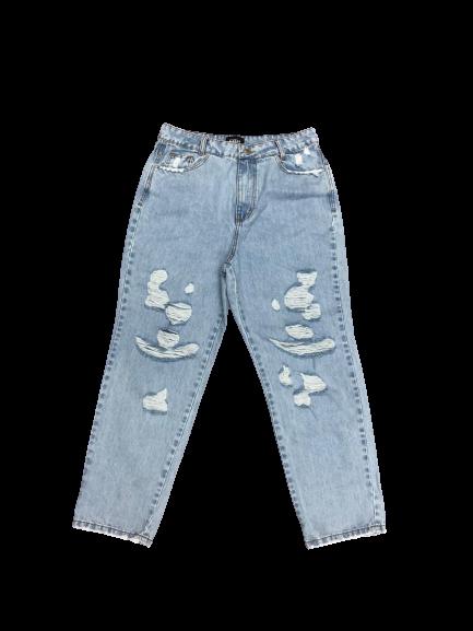 Calça jeans reta 100% algodão de origem sustentável rasgada