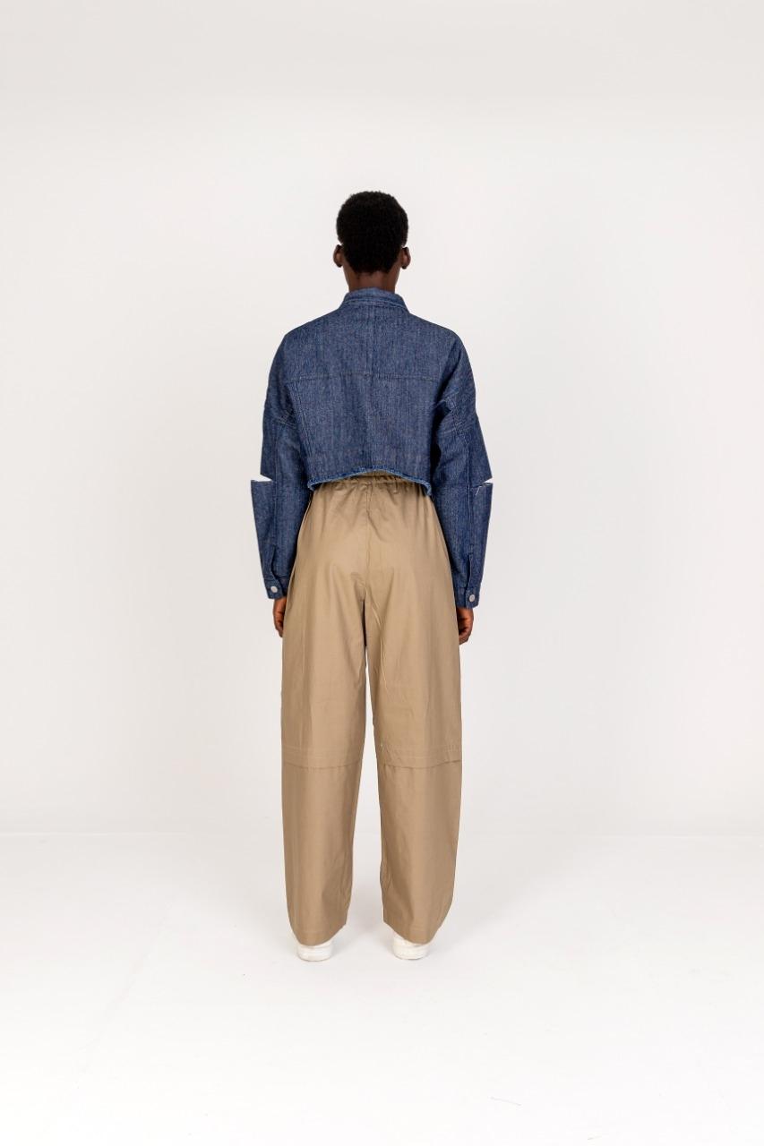 Calça larga cintura alta