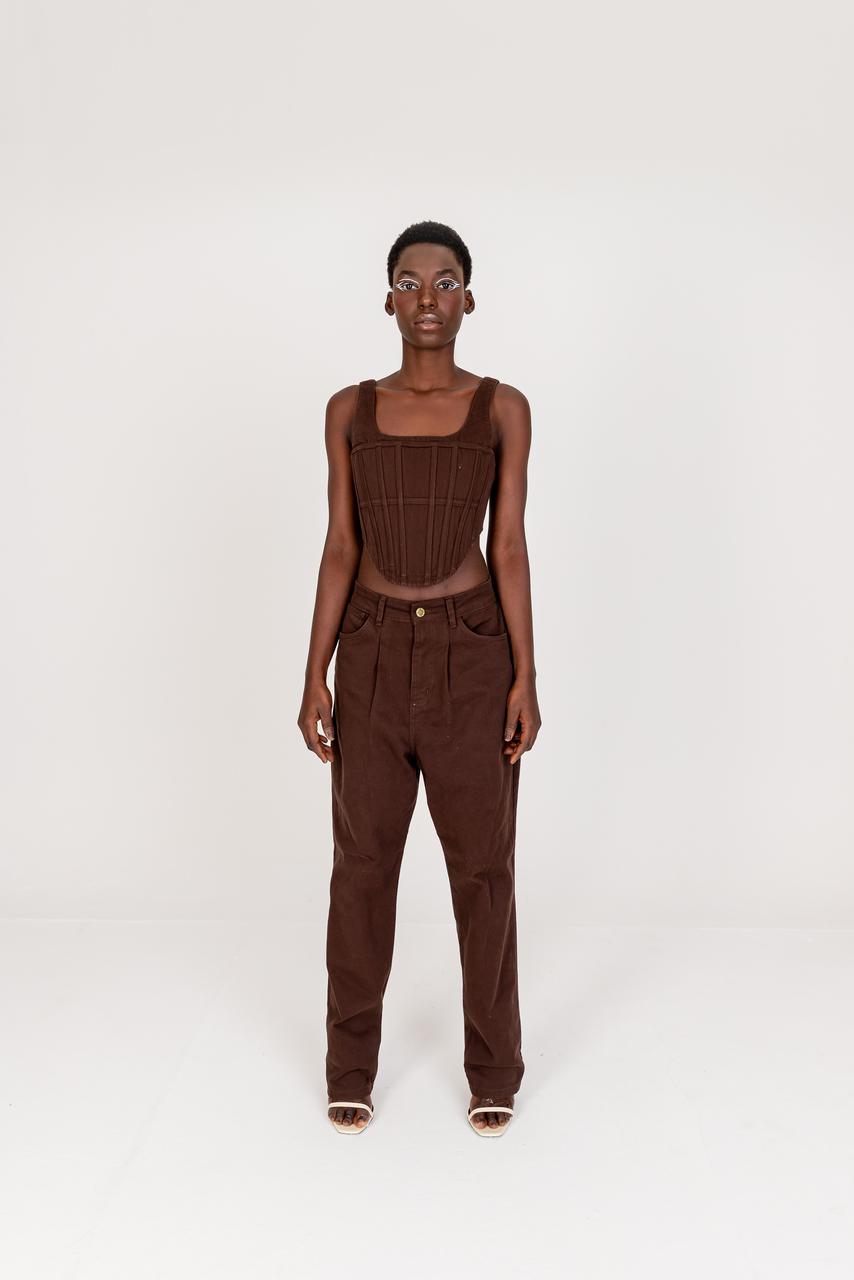 Calça larga marrom cintura baixa