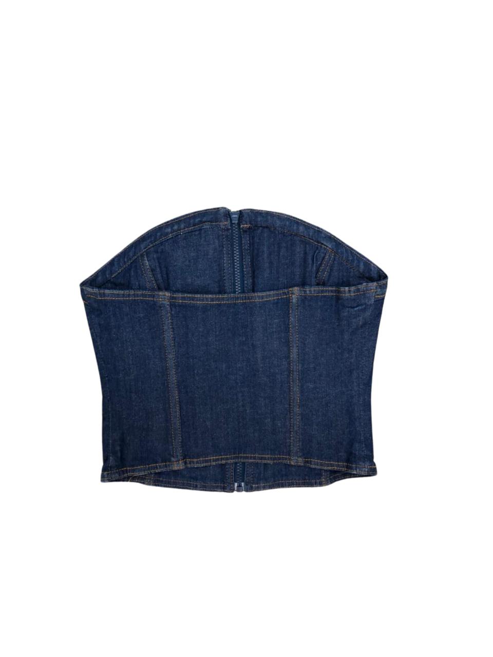 Corset jeans com zíper frontal