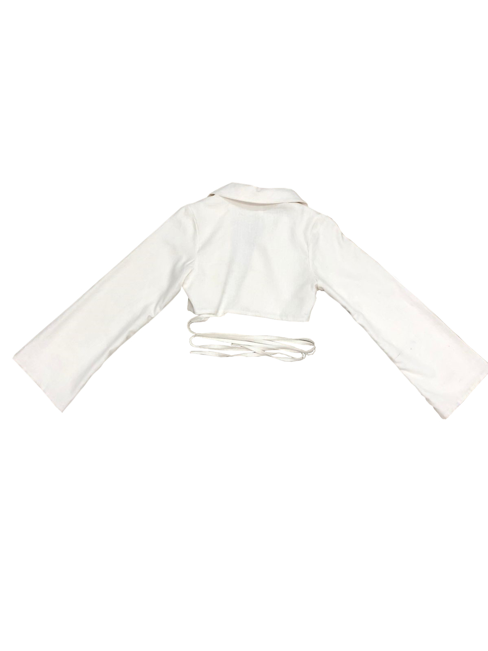 Cropped de linho com amarração na cintura