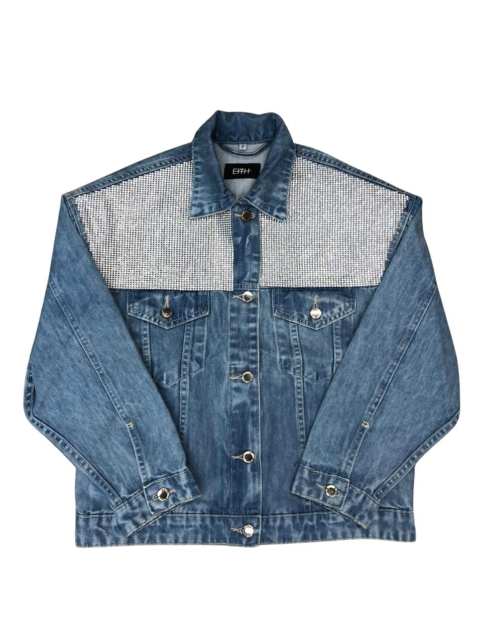 Jaqueta jeans com aplicação de strass