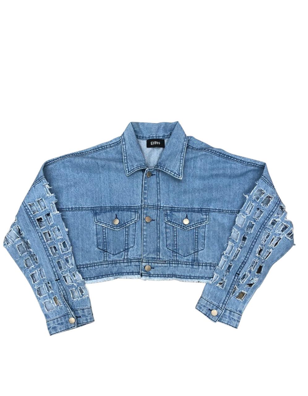 Jaqueta jeans cropped - Laser Art