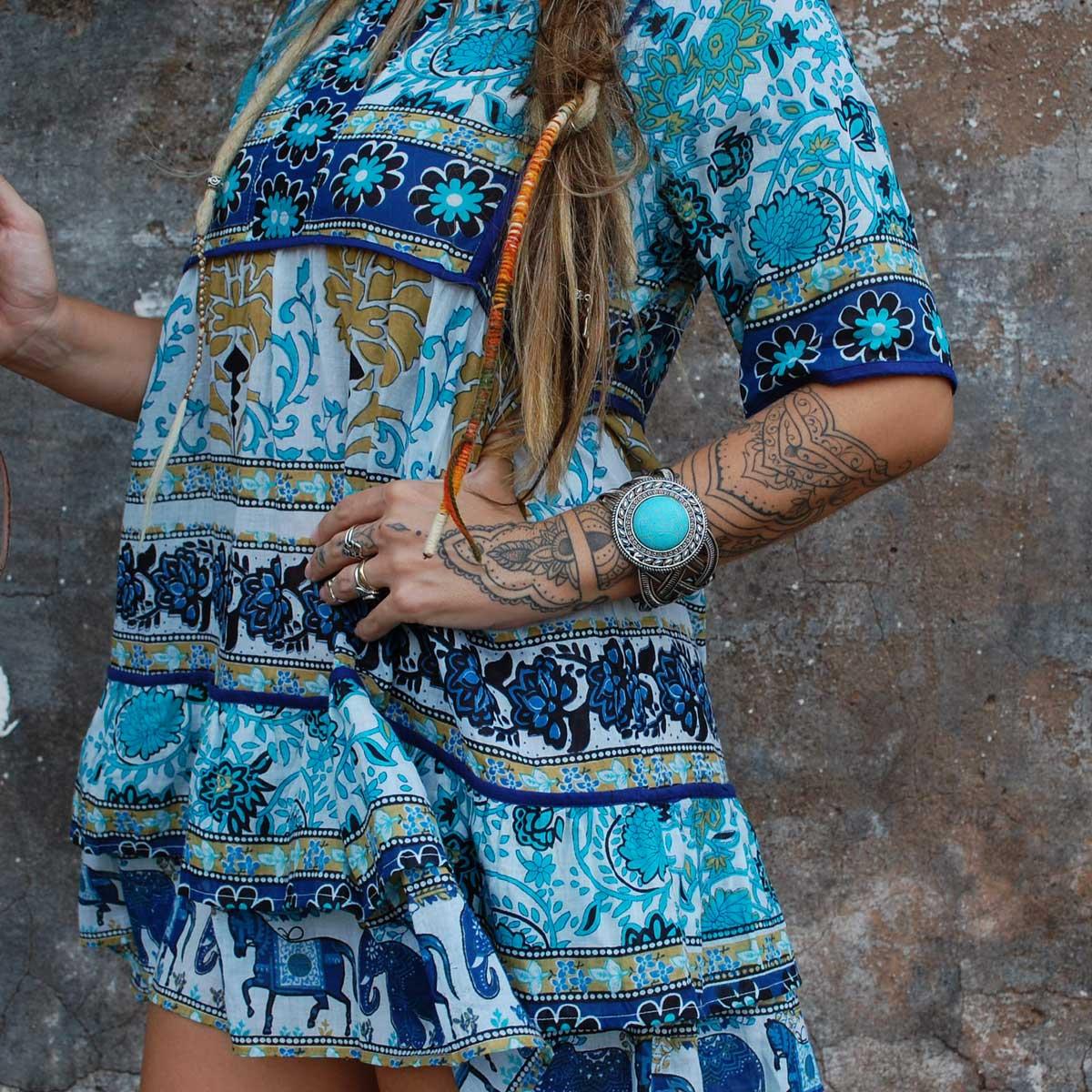 Bata Longa Vestidinho Maia Azul