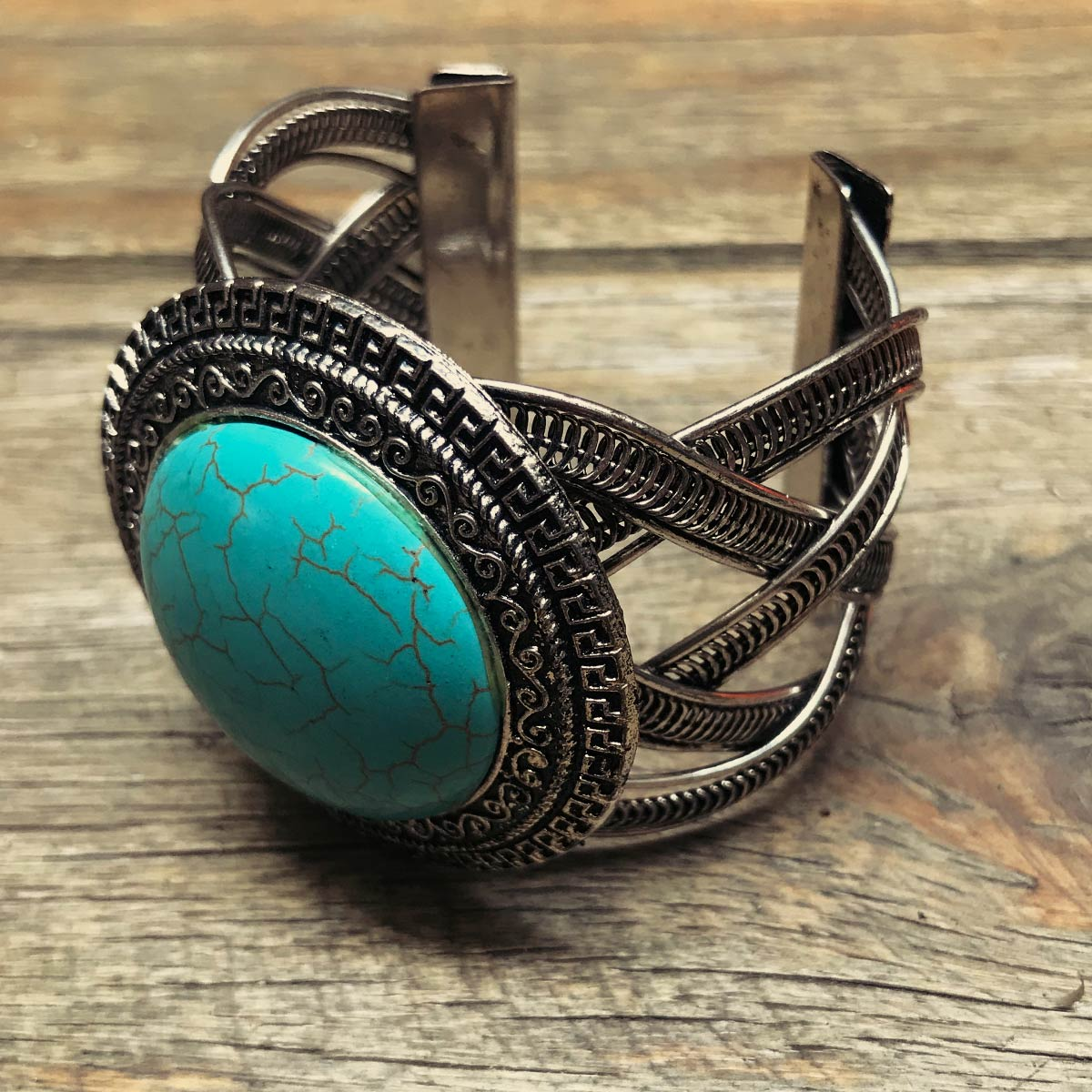 Bracelete Boho pedra Howlita azul redondo Arabesco