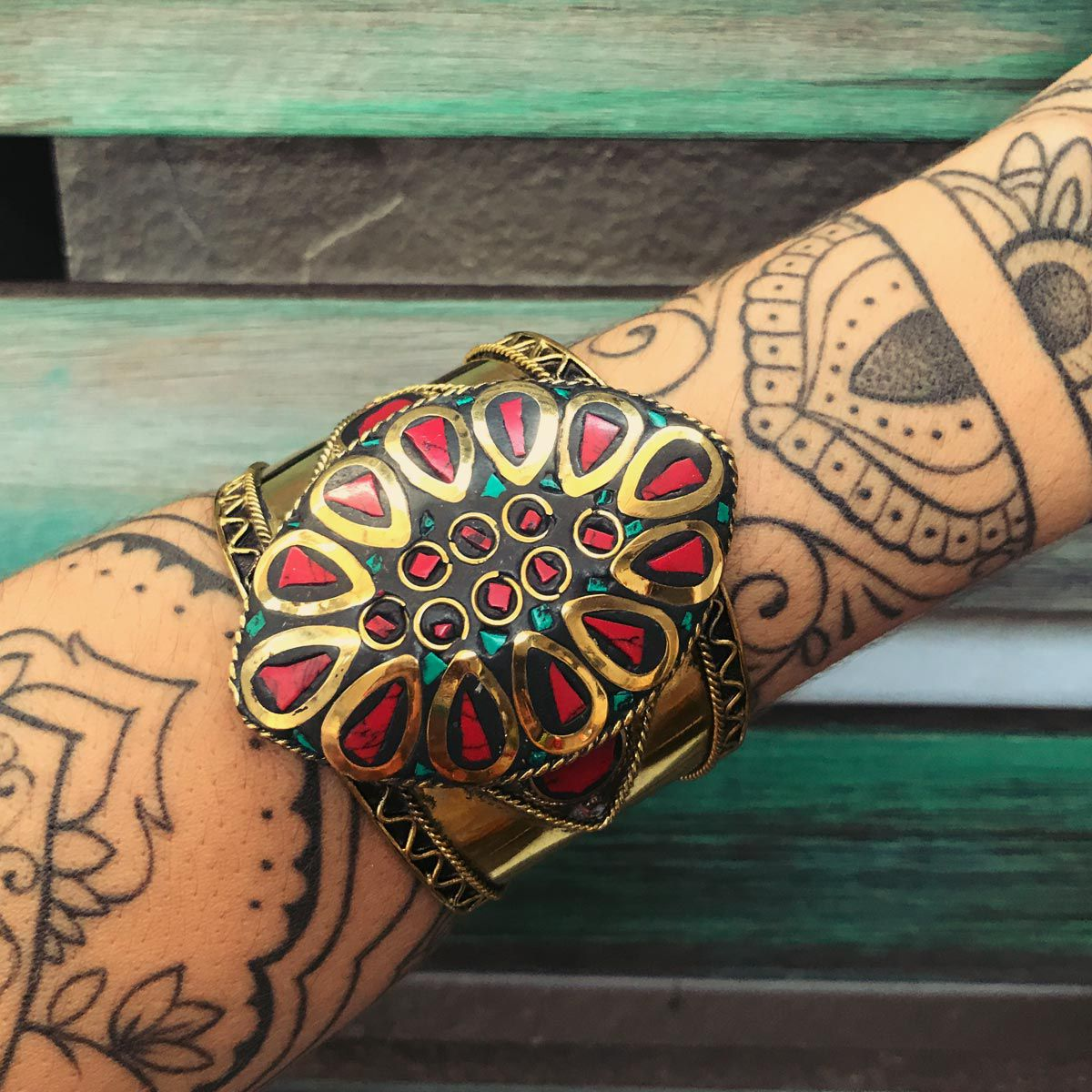 Bracelete Indiano lascas de pedra Natural