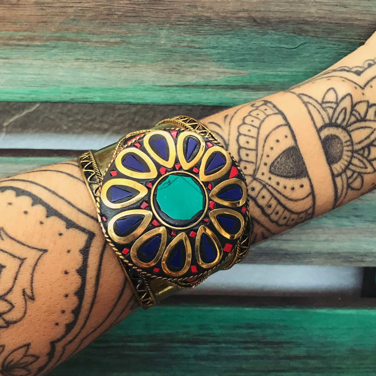 Bracelete Indiano lascas de pedra Natural Azul