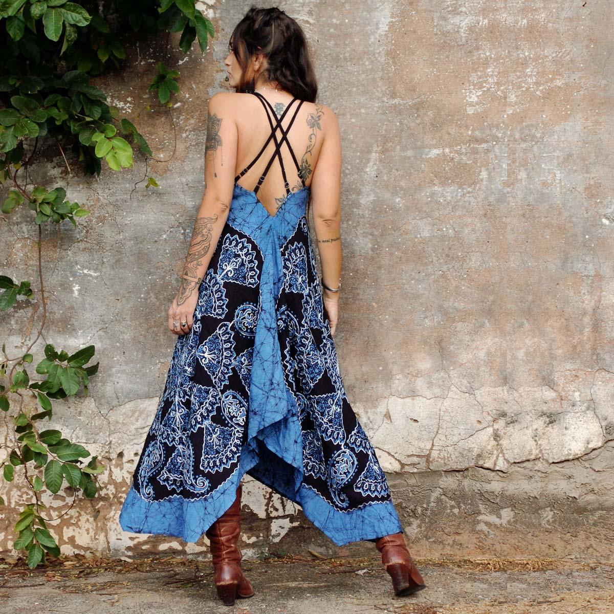 Vestido Longo Batik de Pontas Azul