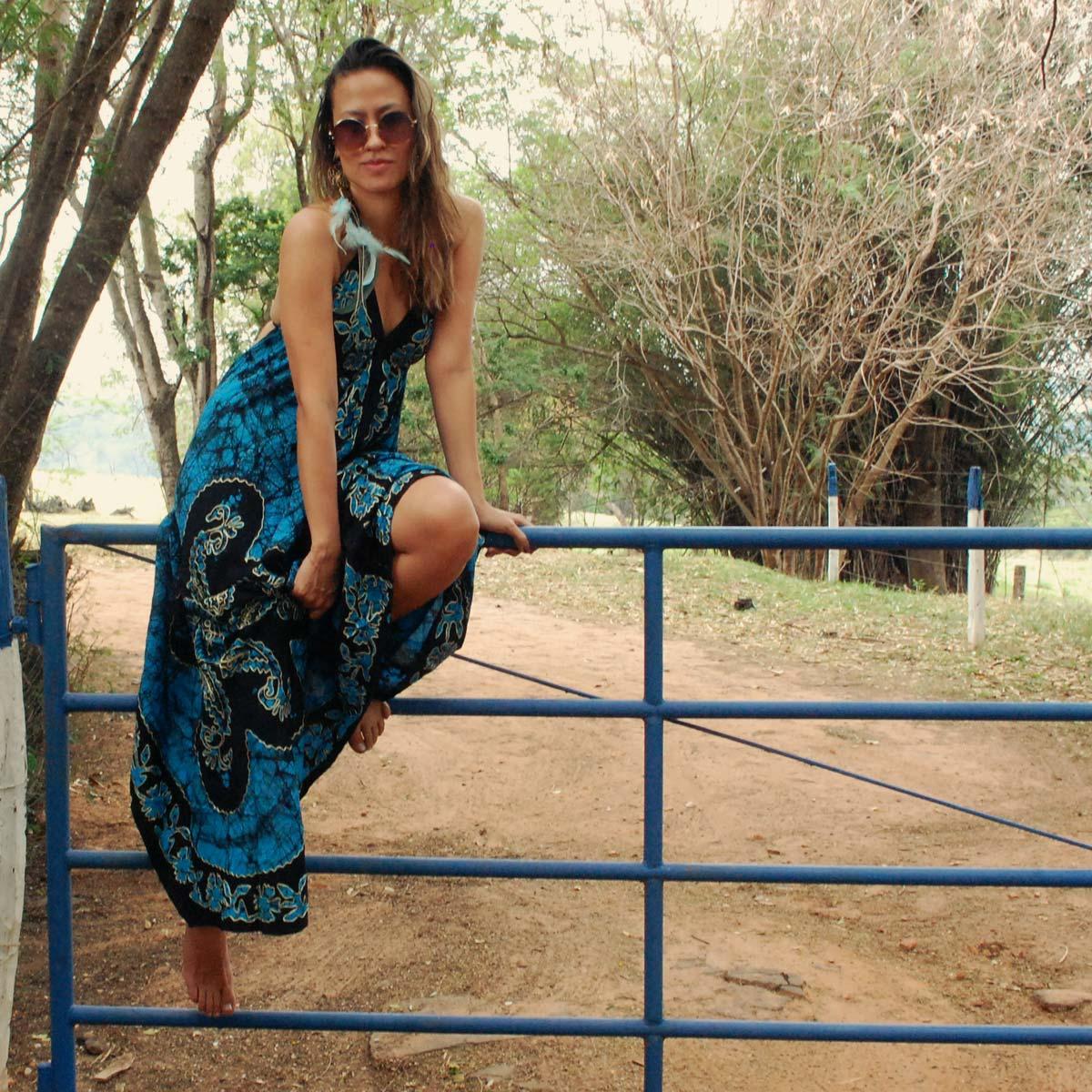 Vestido Boho Longo de Pontas azul Batik