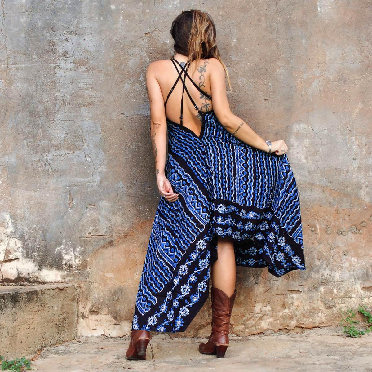 Vestido Longo Batik de Pontas Azul escuro