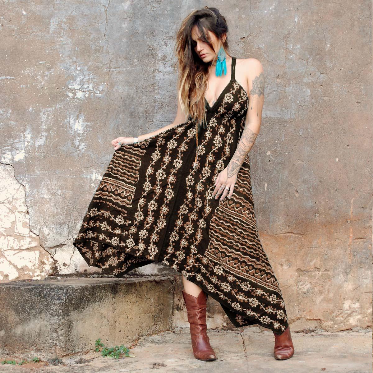 Vestido Longo Batik de Pontas Ocre