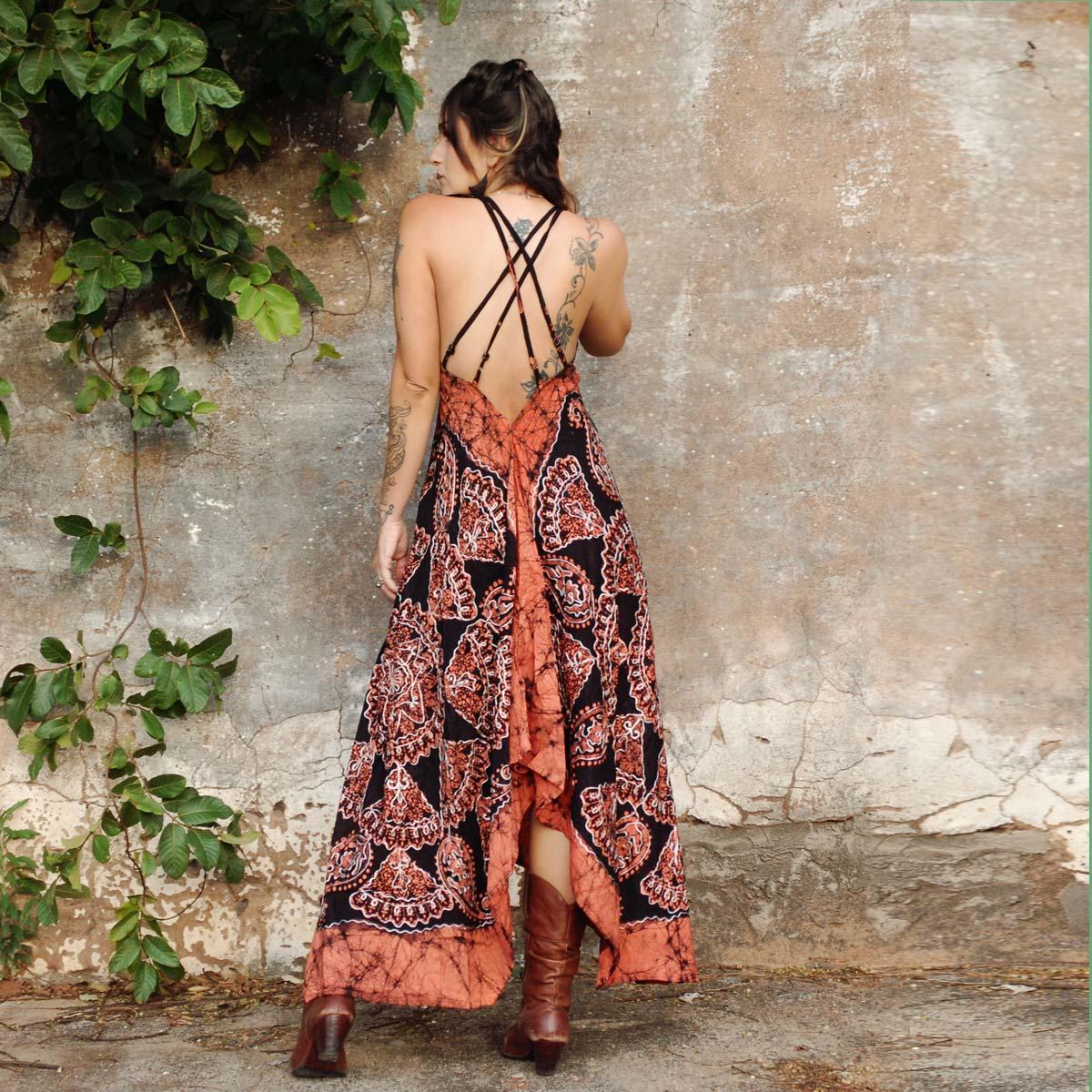 Vestido Longo Batik de Pontas Terra