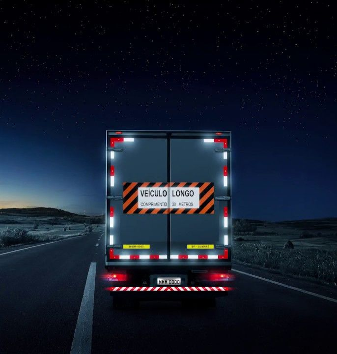 Faixa refletiva Baú Lateral Esquerda Caminhão 3M