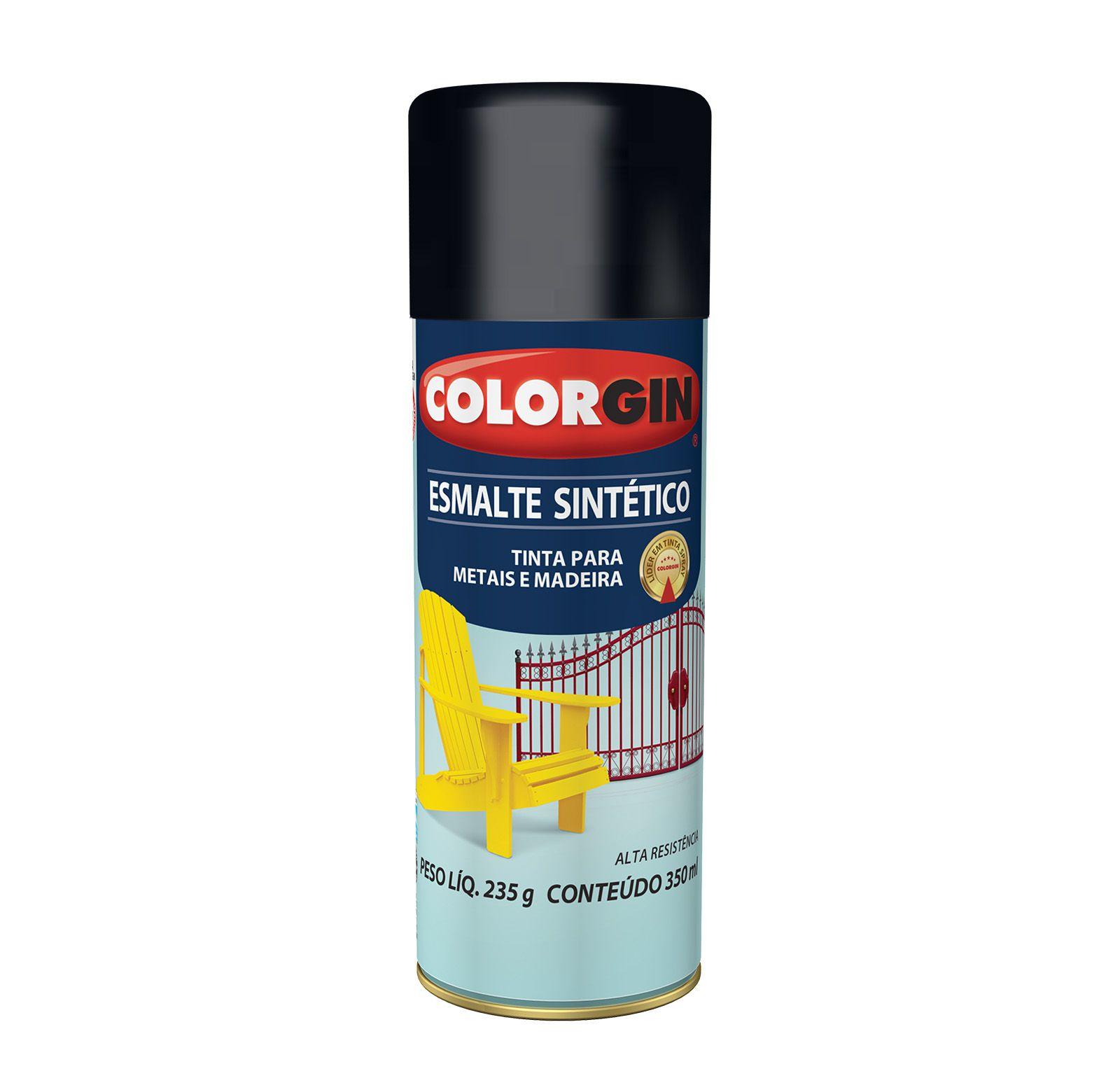 Spray 746 Colorgin Esmalte  Sintético Preto Brilhante