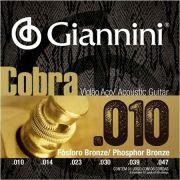 Encordoamento Giannini Cobra Violão Aço 010 GEEFLEF Fósforo Bronze
