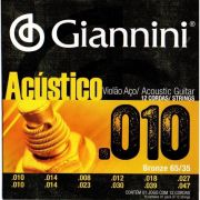 Encordoamento Giannini Violão 12 Cordas Aço Bronze 0.10 GESWA12