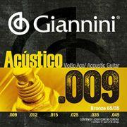 Encordoamento Giannini Violão Aço Bronze 0.09 GESWAL