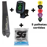 Kit Encordoamento SG guitarra 0.09 + Correia + Afinador + 5 Palhetas Sortidas